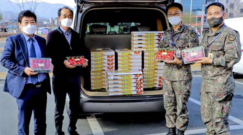 쌍책면 농민들, 자식처럼 키운 첫 수확 딸기 장병들에게 전달